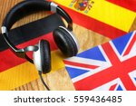 language course headphone and... | Shutterstock . vector #559436485