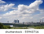 Moscow. A view from mountains Vorobevyh on the Moskva River and Moscow-city - stock photo