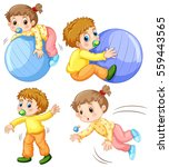 baby girl and boy in different... | Shutterstock .eps vector #559443565