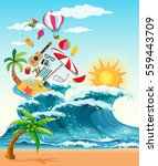 summer theme with big waves and ... | Shutterstock .eps vector #559443709