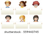 children holding blank papers... | Shutterstock .eps vector #559443745