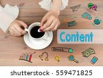content concept. coffee cup top ... | Shutterstock . vector #559471825