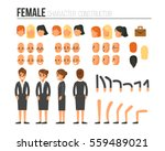 Female character constructor for different poses. Set of various women's faces, hairstyles, hands, legs. Vector illustration. | Shutterstock vector #559489021