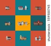 set of 9 flat vector castles.... | Shutterstock .eps vector #559500745