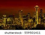 space needle in seattle  ... | Shutterstock . vector #559501411