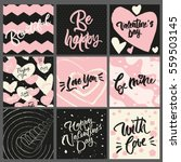 set of 9 greeting cards and... | Shutterstock .eps vector #559503145