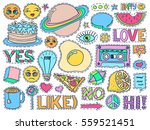 patch badges set. doodle sketch ... | Shutterstock .eps vector #559521451