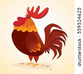 fat cartoon rooster. colorful... | Shutterstock .eps vector #559524625