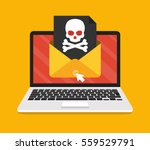 laptop with envelope and skull... | Shutterstock .eps vector #559529791