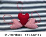 Three Fabric Hearts On Striped...