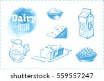 sketches of dairy products  ... | Shutterstock .eps vector #559557247