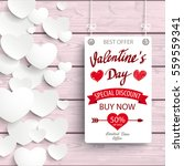 valentines day sale  board with ... | Shutterstock .eps vector #559559341