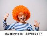 Small photo of Little girl clown