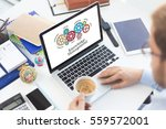 gears and knowledge management... | Shutterstock . vector #559572001