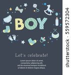 baby boy shower invitation card ... | Shutterstock .eps vector #559572304