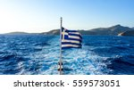Greece Flag And The Deep Blue...