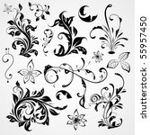curled flowers ornament... | Shutterstock .eps vector #55957450