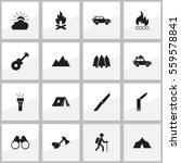 set of 16 editable camping... | Shutterstock .eps vector #559578841