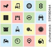 set of 16 editable car icons.... | Shutterstock .eps vector #559580464