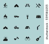 set of 16 editable camping... | Shutterstock .eps vector #559581055