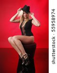 gorgeous blond wearing a hat ... | Shutterstock . vector #55958974