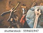 many tools on dirty floor  set... | Shutterstock . vector #559601947