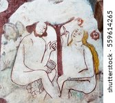 Small photo of Adam and Eve sit under the tree in the paradise and are chatting. Mural in Kavlinge church, Sweden, May 6, 2015
