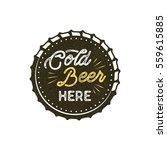Vintage Style Beer Badge. Ink...