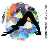 women silhouette on galaxy...   Shutterstock .eps vector #559617709