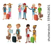 collection couples traveling... | Shutterstock .eps vector #559621801