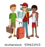 group boys traveling tourist | Shutterstock .eps vector #559621915