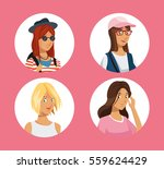 collection girl teens friendly... | Shutterstock .eps vector #559624429