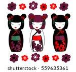 Set Of Three Japanese Dolls  ...