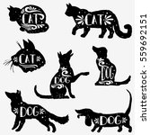 Stock vector set of hand drawn pets with grunge texture cats and dogs silhouette collection vector 559692151
