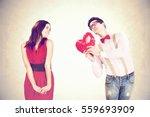 funny valentine's day romantic... | Shutterstock . vector #559693909