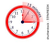 clock 15 minutes to go vector... | Shutterstock .eps vector #559698334