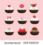cupcakes for valentine's day   Shutterstock .eps vector #559700929