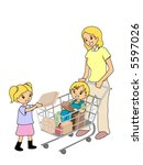 mother with kids at the... | Shutterstock .eps vector #5597026