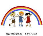 three kids and a rainbow  ... | Shutterstock .eps vector #5597032
