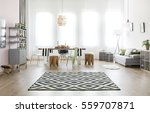 multifunctional room with table ... | Shutterstock . vector #559707871