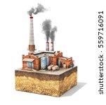 pollution concept. factory...   Shutterstock . vector #559716091