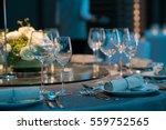 elegant table setting in wedding | Shutterstock . vector #559752565