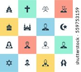 set of 16 simple faith icons.... | Shutterstock . vector #559753159