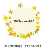 frame with cute golden stars. | Shutterstock .eps vector #559757065