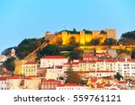 lisbon castle on a top of a... | Shutterstock . vector #559761121