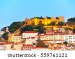 lisbon castle on a top of a... | Shutterstock . vector #559761121