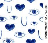 Seamless Pattern Of Eyes  Hear...