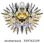 grunge tiger head. tribal tiger ... | Shutterstock .eps vector #559762159