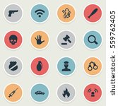 set of 16 simple offense icons. ... | Shutterstock .eps vector #559762405
