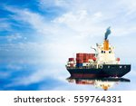 container ship in ocean and on... | Shutterstock . vector #559764331